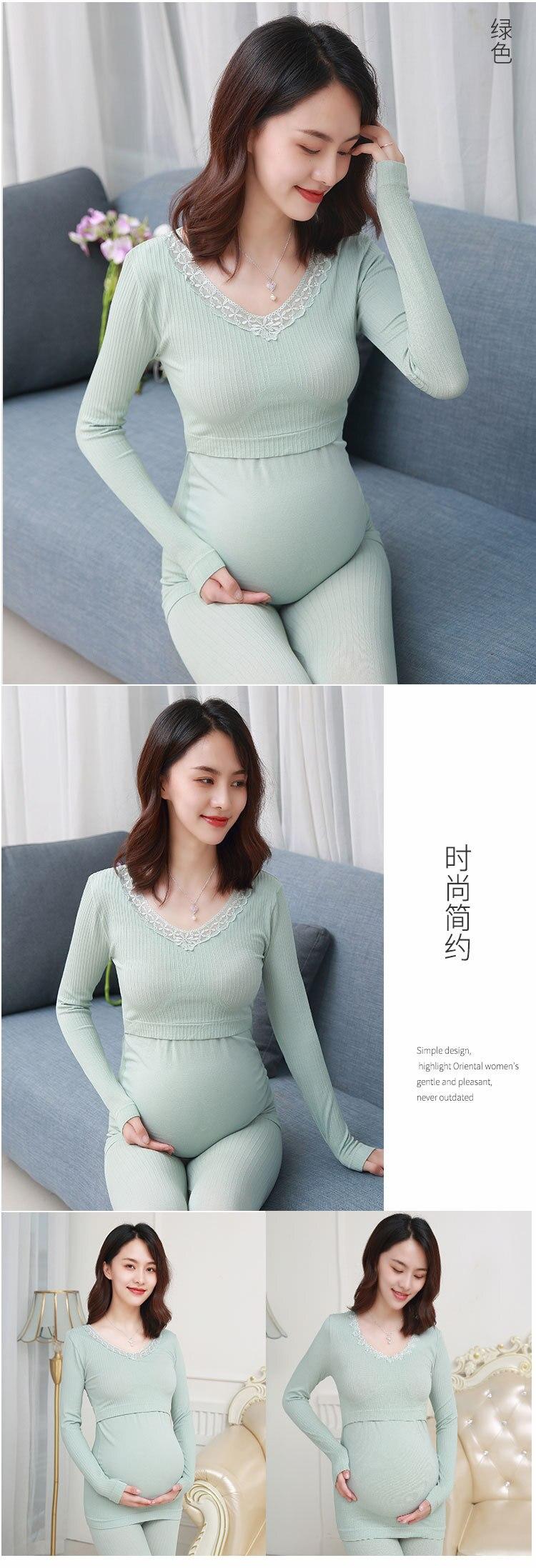 Mulheres grávidas conjuntos de pijamas elásticos fina