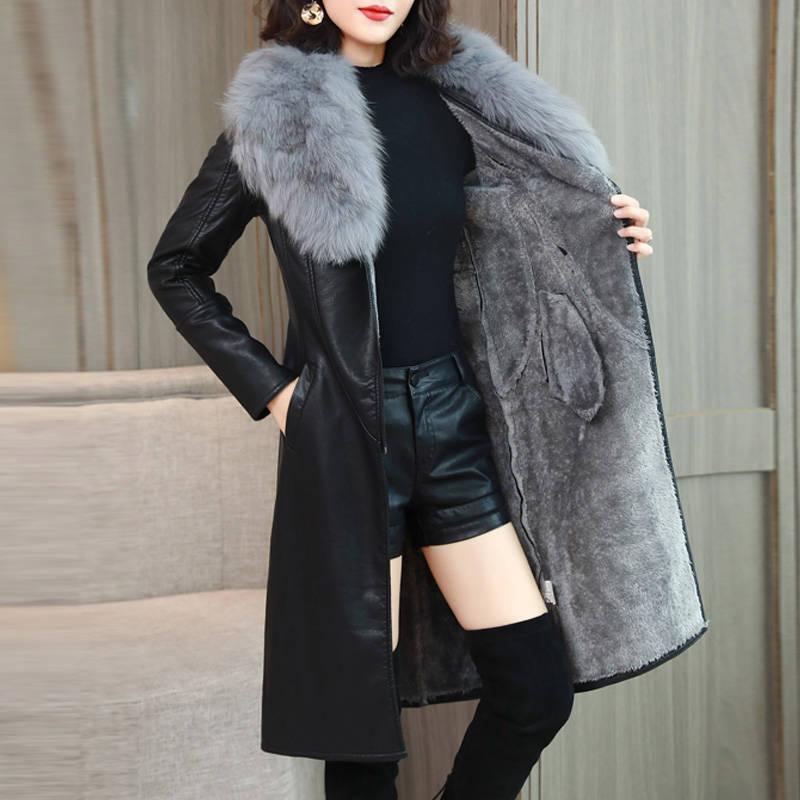 נשים של מעיל עור לחורף 2019 חדש בתוספת קטיפה חם Slim גדול פו פרווה צווארון ארוך עור מעיל נשי הלבשה עליונה
