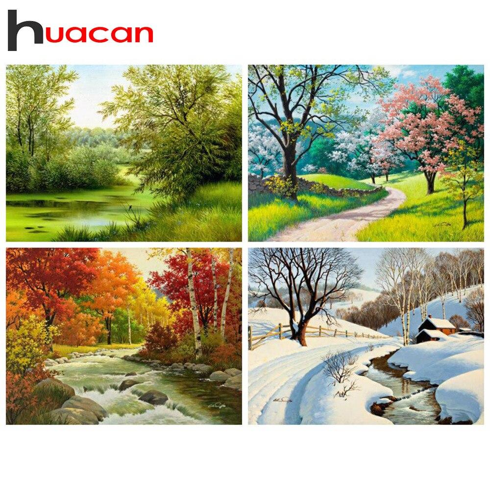 Huacan diamant peinture Kit quatre saisons ferme décor à la maison mosaïque point de croix Nature broderie paysage diamant Art