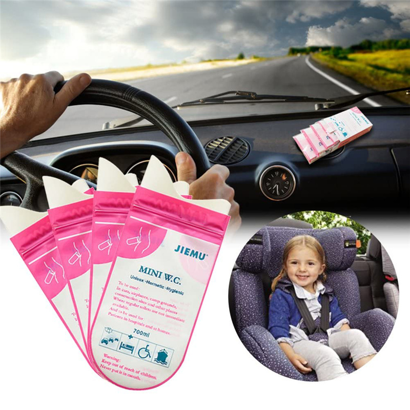 4pcs/8pcs 700ml Emergency Portable Car Urine Bag Disposable Handy Auto Mini Mobile Toilet Vomit Bag Unisex Kids Using Outdoor