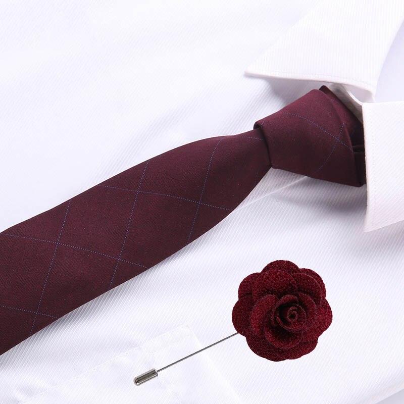 2020 New Male Neck Dark Red Tie Men Skinny Cotton Necktie Wedding&party 6.5cm Ties Fashion Mens Business With Brooch