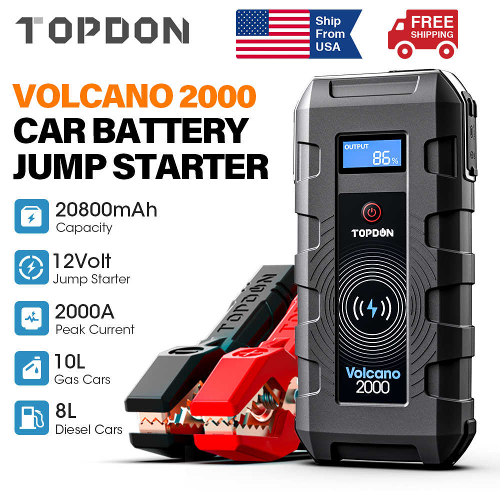 Topdon Auto Jump Starter 20800Mah 2000A Piek 12V Draagbare Emergency Starter Power Bank Auto Booster Starten Apparaat Waterpoof