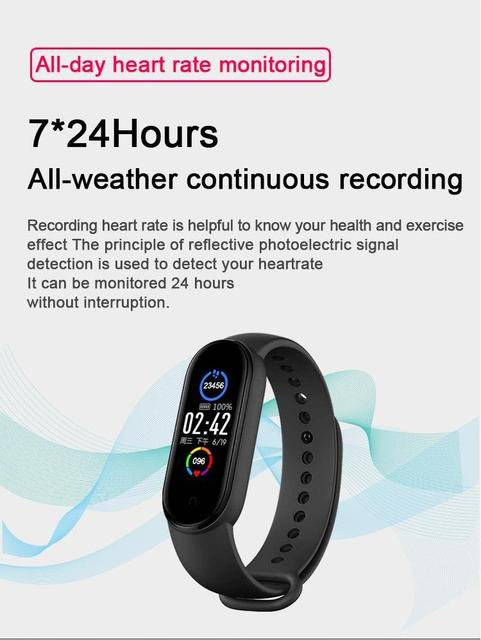 M5 Smart Band Men Women Watch Heart Rate Blood Pressure Sleep Monitor Pedometer Bluetooth-compatible Connection for IOS Android 3