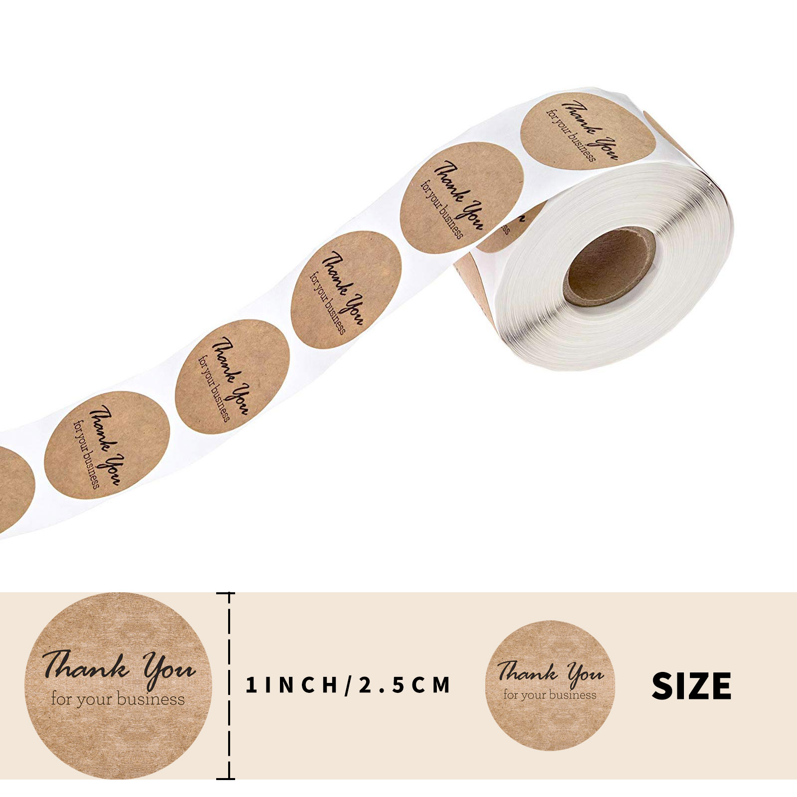 500 Pcs A Roll Round Kraft