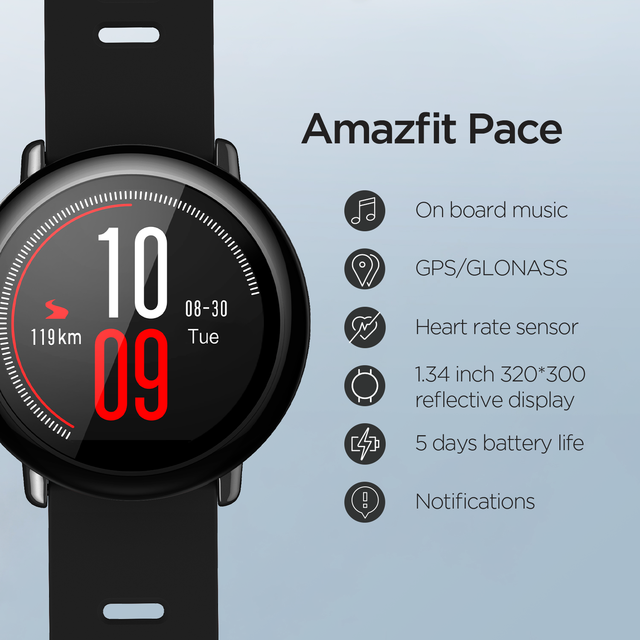 Huami Amazfit Pace Smartwatch Amazfit Smart Watch Bluetooth GPS Information Push Heart Rate Intelligent Monitor 2