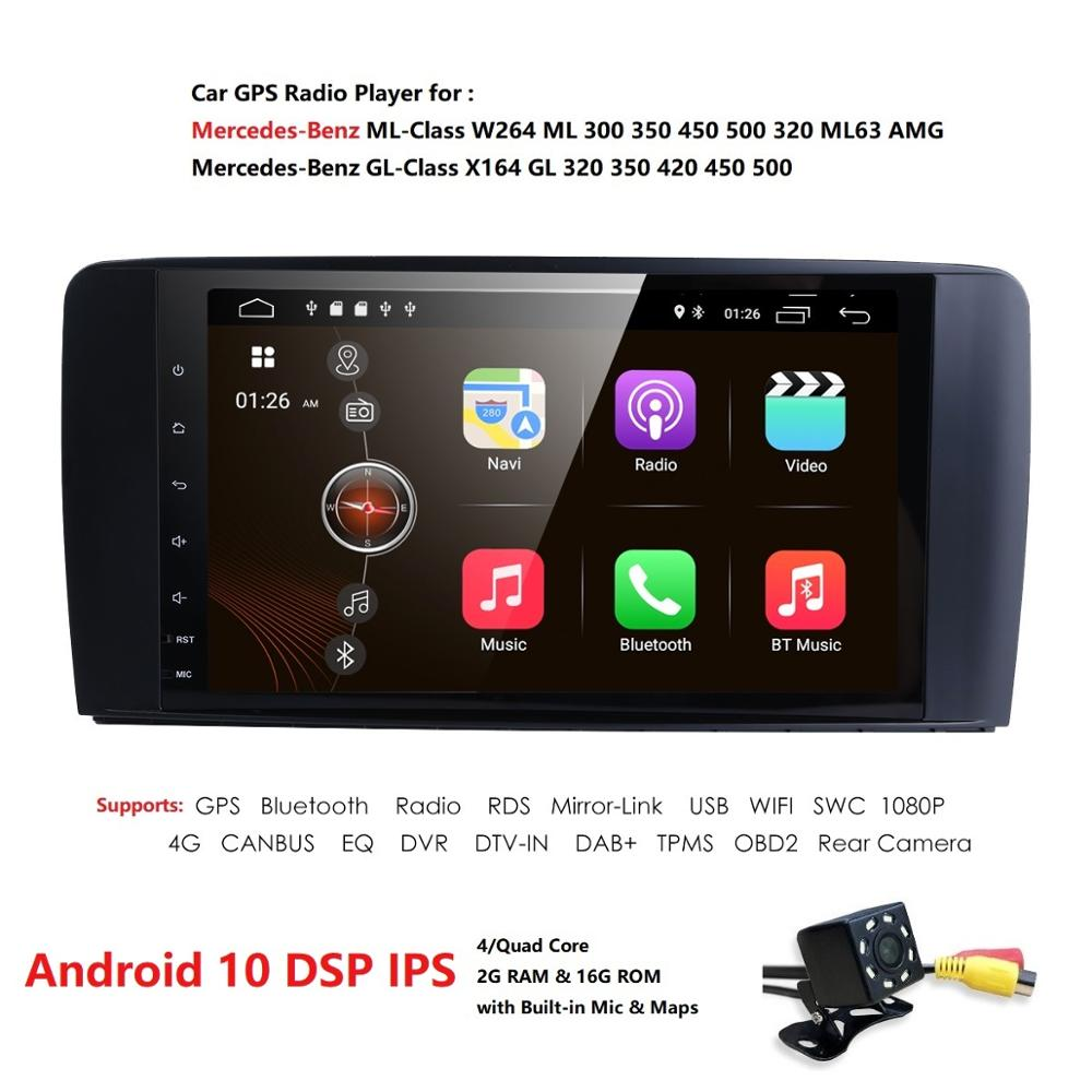 Android 10 car radio GPS multi-media player for Merdedes Benz ML-Class W164 GL-Class X164 ML/GL350 500 320 450 ML300 GL420 DAB+ image