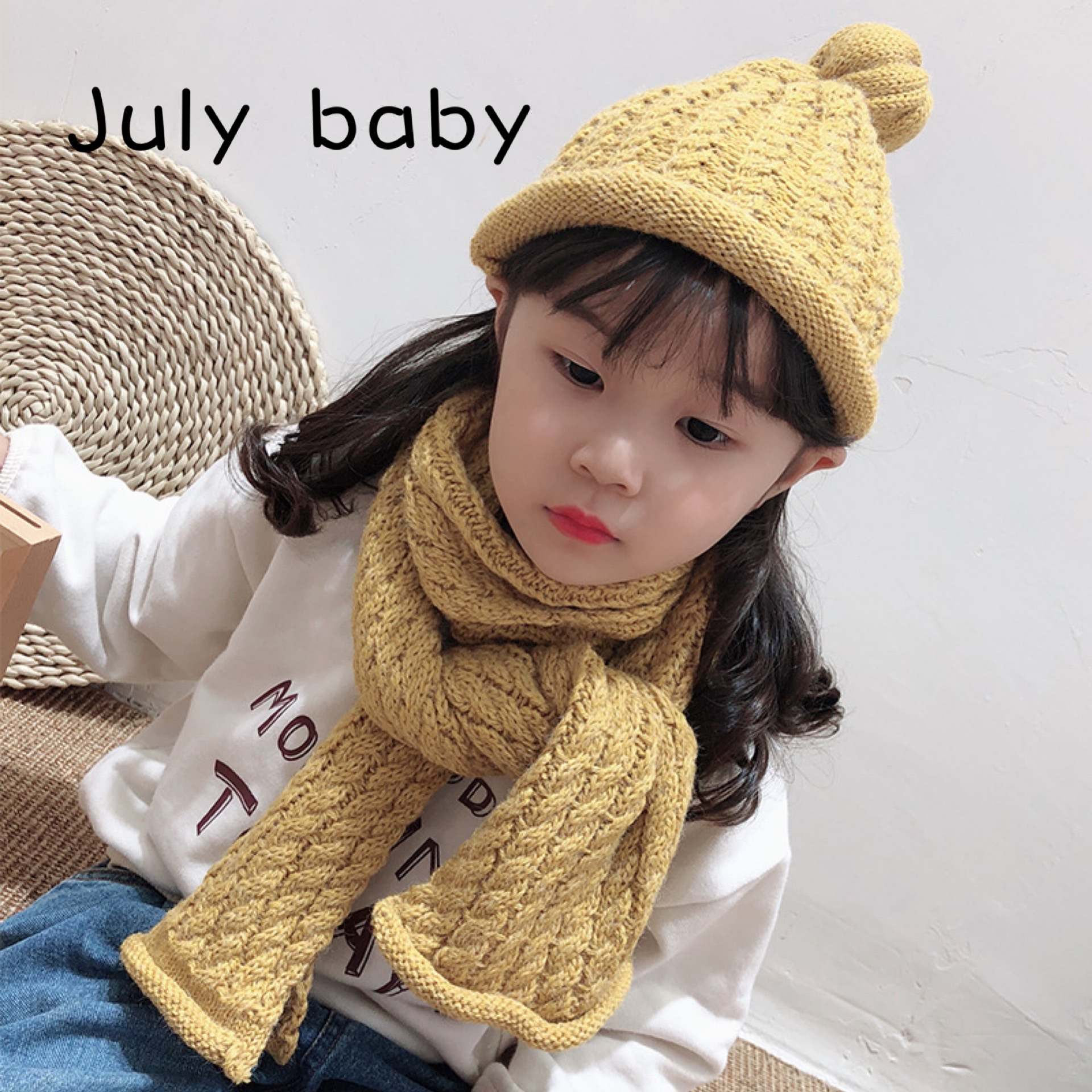 July Baby Trend Children Scarf Autumn And Winter Hat Suit New Baby Warm And Comfortable Soft Girl Woolen Pumpkin Hat Scarf Suit