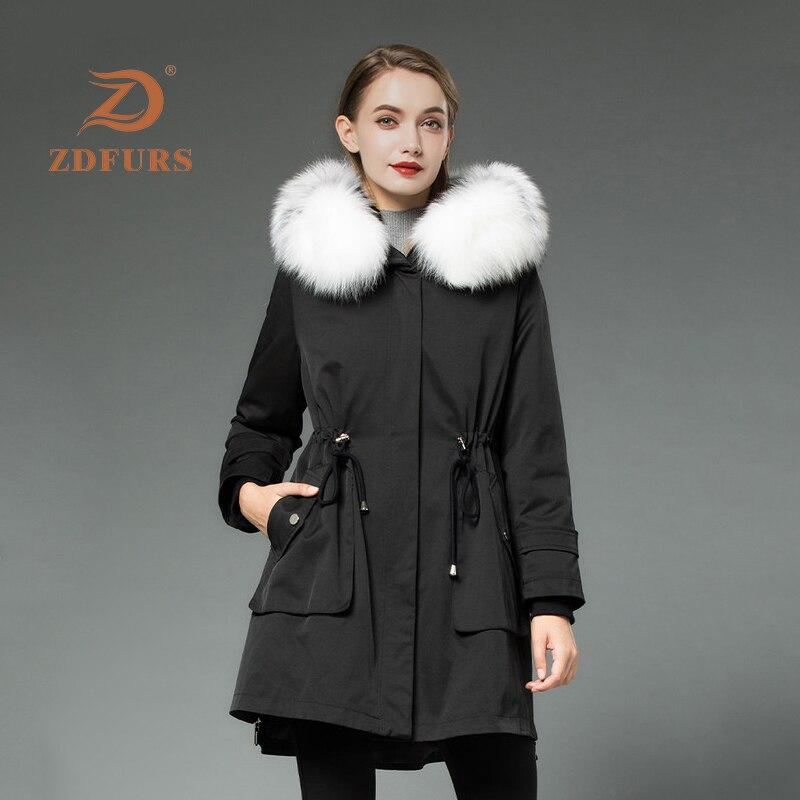 ZDFURS*2019 New Real Rex Rabbit Fur Parka Women Winter Jacket Fox Hooded Coats Nature