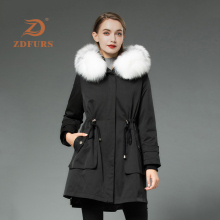 ZDFURS*2019 New Real Rex Rabbit Fur Parka Women Winter Jacket Fox Hooded Coats Nature