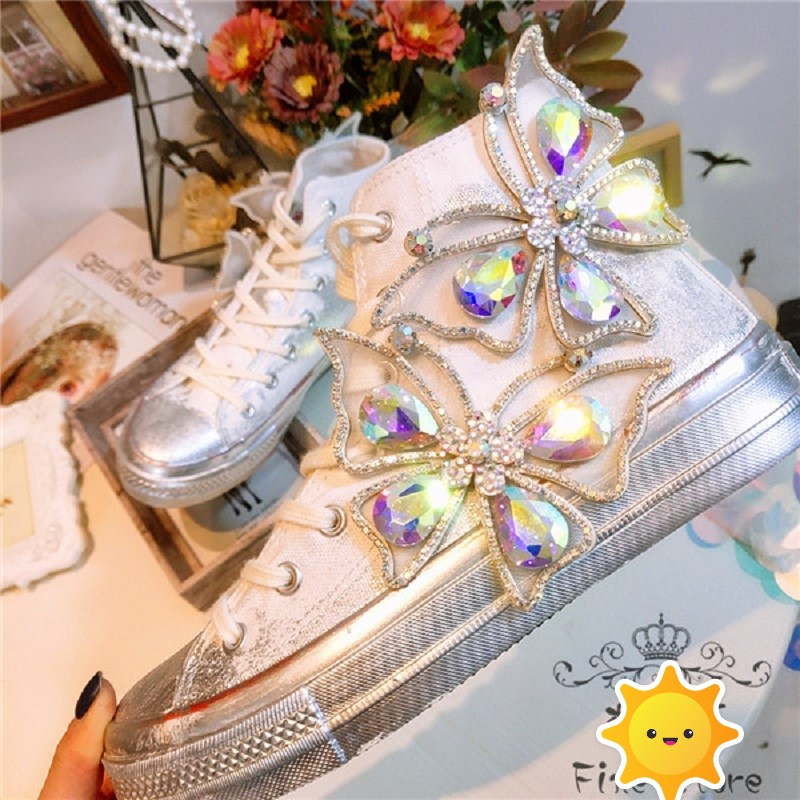 JELLYFOND Woman canvas shoes crystal ladies flat shoes crystal diamond butterfly canvas Casual Shoe Outdoor Breathable Sneakers