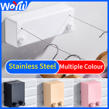 Bathroom Clothesliner Stainless Steel Telescopic Clothesline Retractable Indoor Outdoor Square Black Wall Hanging Dr