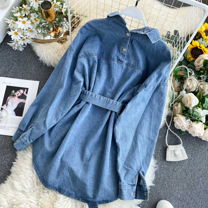 Neploe 2020 Vintage Sjerpen Slanke Taille Jeans Jas Herfst Winter Vrouwen Denim Jasje Koreaanse Knoppen Backless Lange Bovenkleding 56249