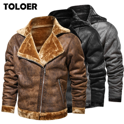Flight Jacket Men Fur Collar PU Leather Jacket Men Black Brown Vintage Coat Male Winter Thicken Warm Fleece Bomber Jacket Parkas