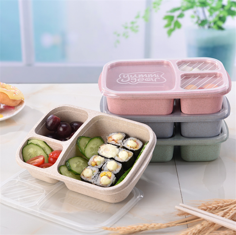 Straw Food Container Lunch Box Children Kids School Portable Bento Box Fit Hiking Camping Kitchen Accessories Dinnerware