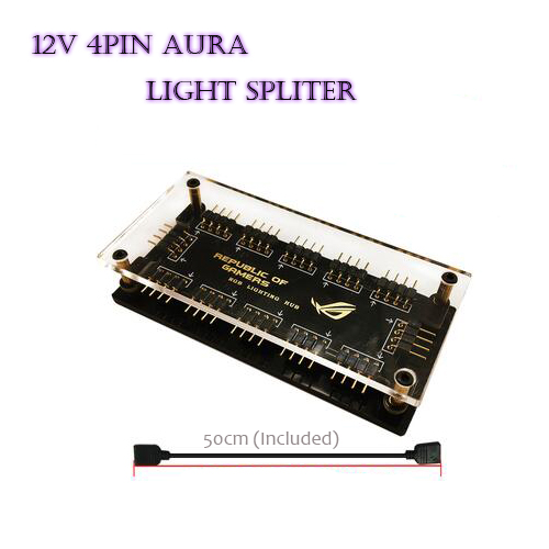Motherboard AURA 12V 4PIN HUB RGB Light  FAN computer case decoration light strip spliter sync motherboard 12v 4pin interface 1