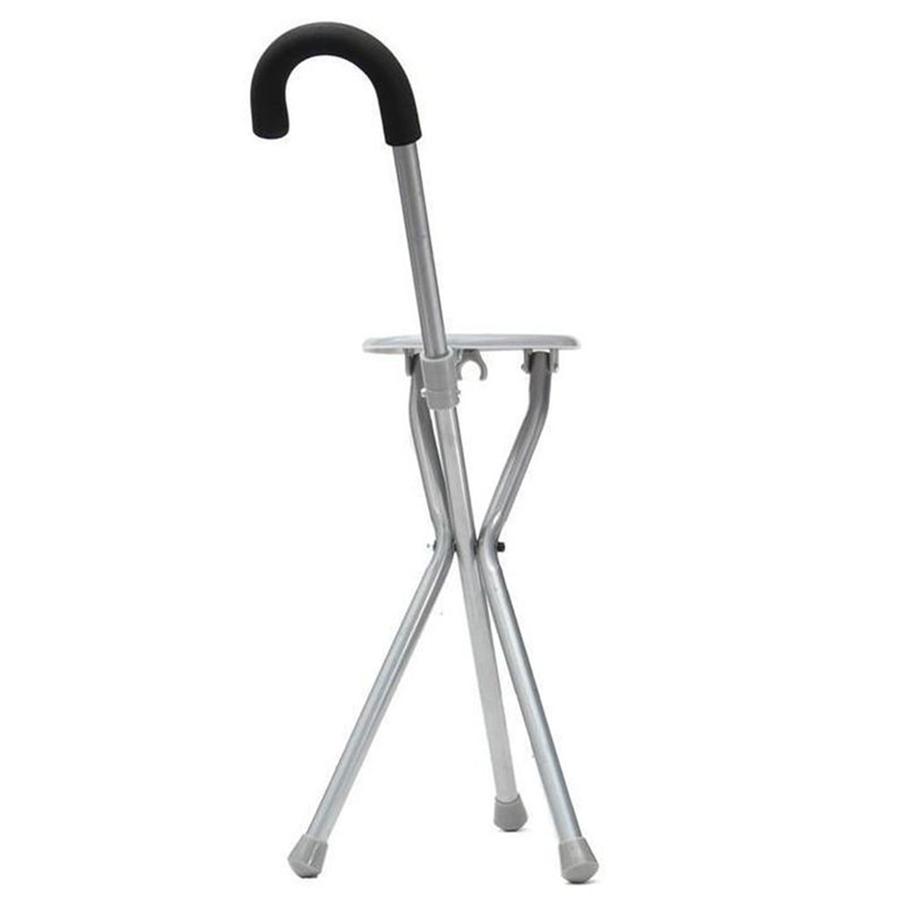 Stool Cane Iron Man Walker Stainless-Steel Portable Seat Old with Three-Legged title=