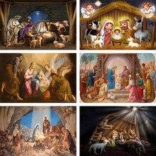Mehofond Christian Jesus Birth Scene Backdrop Christmas Nativity Party Sheep Vinyl Photography Background Photo Studio Photocall
