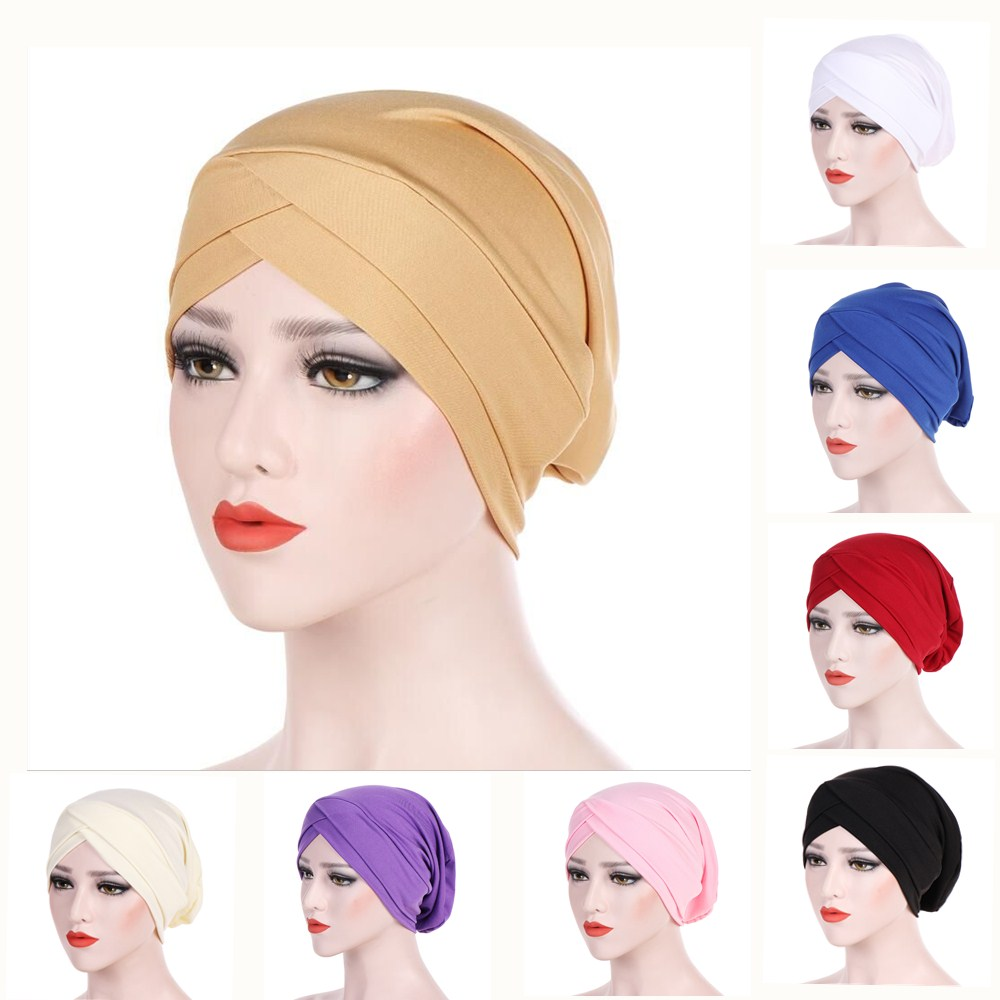 Muslim Cross Scarf  Inner Hijab Cap Islamic Head Wear Hat Headband Turban Head Scarf Headwrap Women Muslim Hijab Hairband
