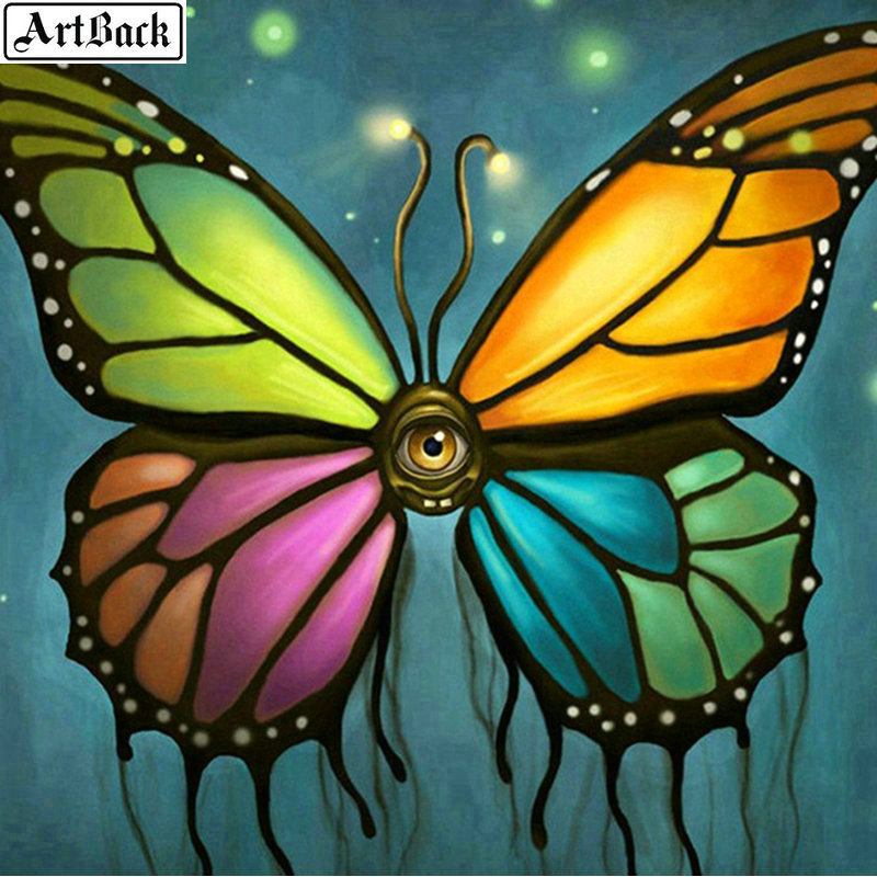 ARTBACK 5d Diamond Painting Full Square Butterfly 3d Diamond Mosaic Landscape Diamond Embroidery Crafts 70x70cm