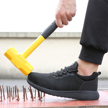Zapatos de seguridad transpirables para hombre, zapatillas de trabajo con punta de acero, zapatos resistentes al desgaste, color negro, talla grande 36 48