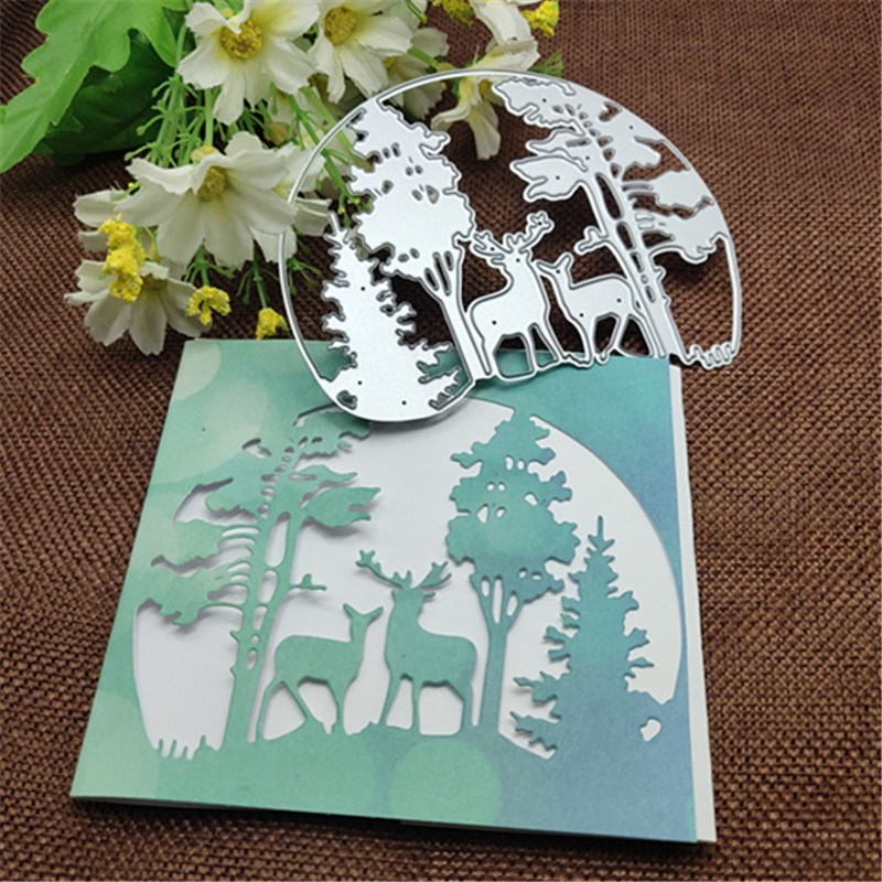 Christmas Tree Animal Deer Frames Metal Cutting Dies Stencils Die Cut For DIY Scrapbooking Album Paper Card