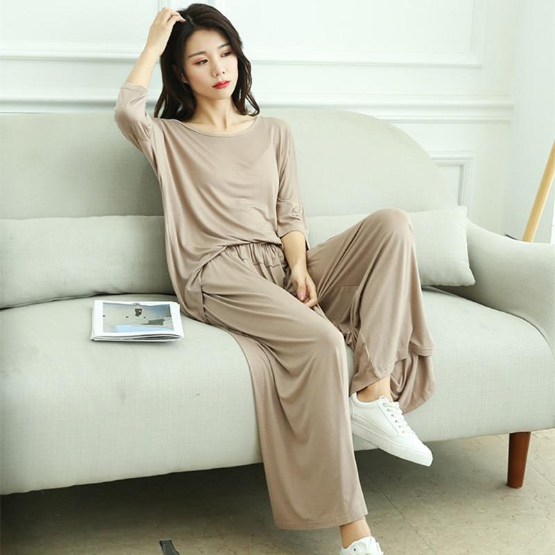 Fdfklak Pyjamas Women Pajamas Underwear Home Clothes Set 2020 Spring Summer New Sleepwear Two-Piece Pijama Plus Size XXL 3XL