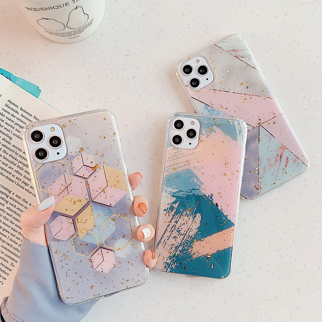 LOVECOM Gold Powder Geometric Graffiti Phone Case For iPhone 11 Pro Max XR XS Max 6 6S 7 8 Plus X Soft Epoxy Back Cover Gift