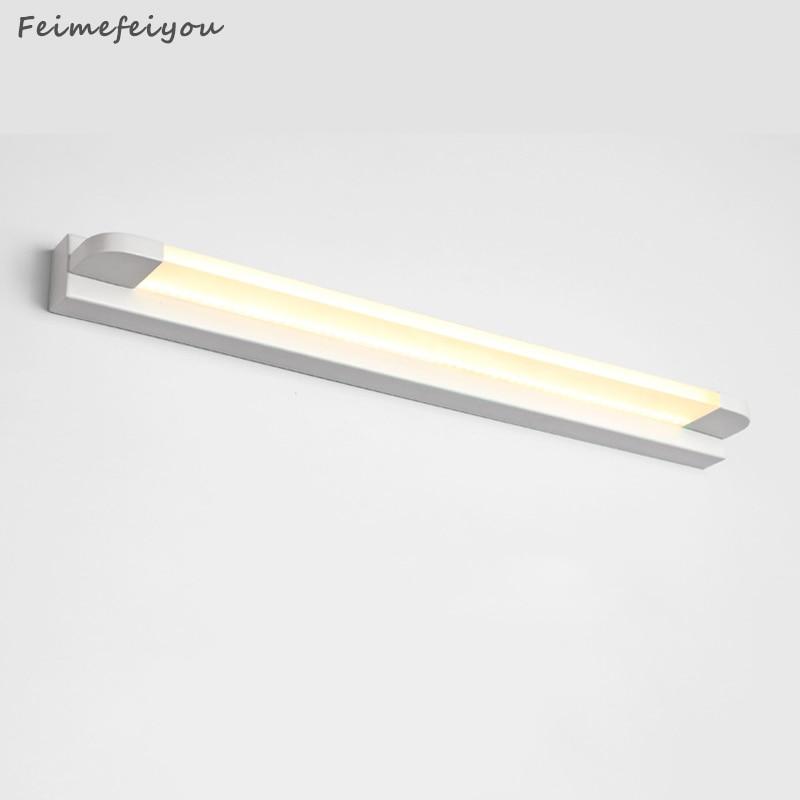 Modern Long Bathroom Vanity Light Bar Over Mirror, LED Wall Sconce Fixtures Indoor Stainless Steel Daylight Bath Makeup Lighting