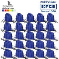 50pcs Zackpack Sports Drawstring Bag Waterproof wholesale Backpack Custom logo Fitness Polyester bag Printing for Women Students