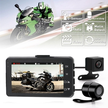 3 Inch 1080P HD Motorcycle Camera DVR Motor Dash Cam with Special Dual-Track Front Rear Recorder Motorbike Electronics KYMT18