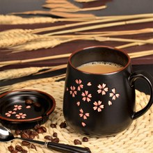 Hot New 1Set Ceramic Mug(Mug+Lid+Spoon) Exquisite Sakura Mugs 380Ml Coffee Milk Mug Large Capacity Cup(China)