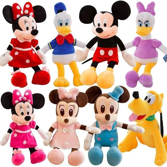 30-100cm Disney Mickey Mouse Minnie Donald Duck Daisy Goofy Pluto Animal Stuffed Plush Toys Doll Birthday Gift For Children Girl