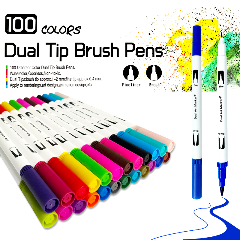 120PCS Colors Dual Tip Brush Hand Painted Marker Pens Art Watercolor Fineliner Drawing Painting Stationery for Coloring Manga