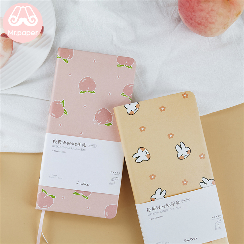 Mr Paper PU Leather Cover Pocket Notebook Fruits Yakult Recording Journal Yearly Monthly Weekly Daily Notebooks Easy To Carry