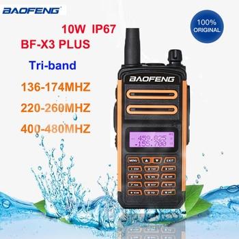 Baofeng walkie talkie x3 plus tri-band presunto cb rádio ip67 à prova dip67 água alta potência hf transceptor