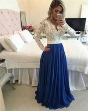 Королевский синий длинный кружевной рукав Выпускные платья на