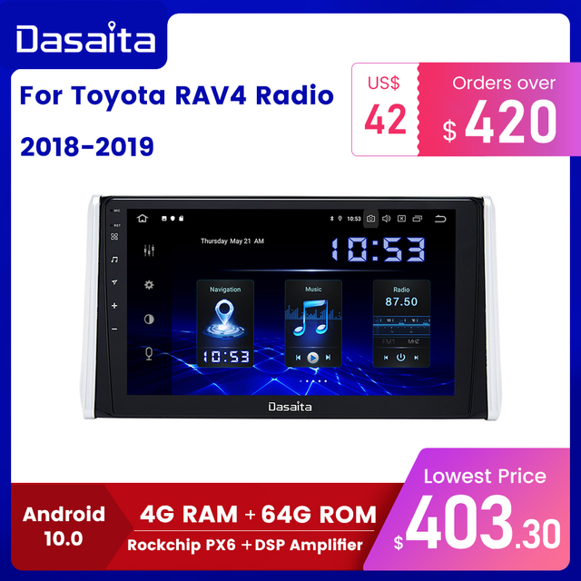 "Dasaita 10.2"" IPS screen Car Multimedia Android 10.0 for Toyota RAV4 Radio 2018 2019 TDA7850 GPS Bluetooth Car Stereo MAX10"