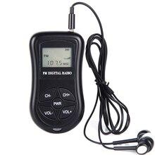 Lcd scherm Persoonlijke Mini Digitale FM Radio met Oortelefoon Lanyard Draagbare Digitale FM Radio continu worden gebruikt voor 50  60 uur