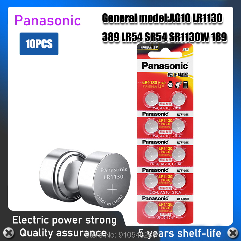 10 шт., кнопочные щелочные батарейки LR1130 SR1130 1,55 LR54