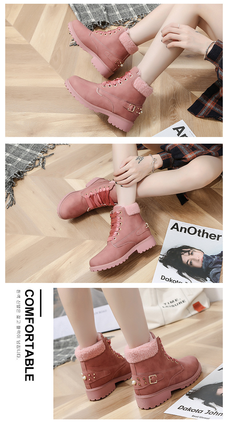 Size 43 women winter boots 2019 New Arrival Fashion Suede Women Snow Boots Metal rivet Warm Plush Women's Ankle Boots Flat shoes 35