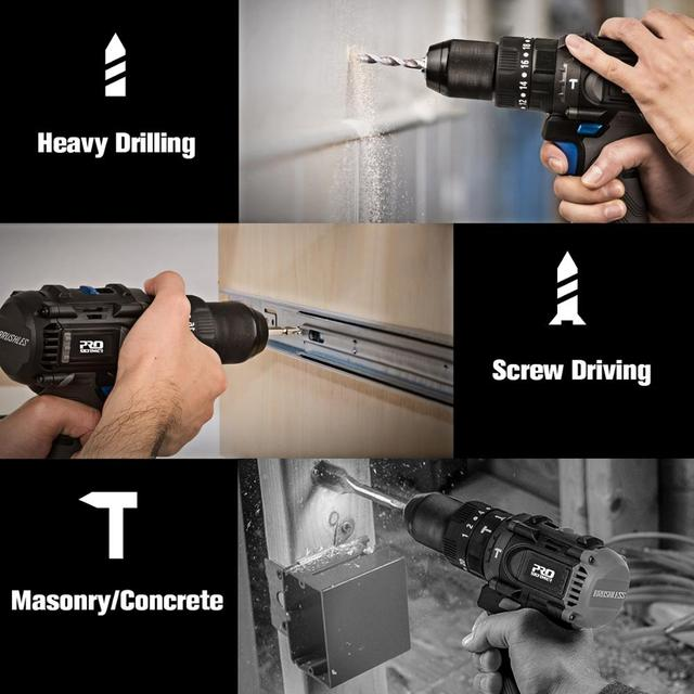 Brushless Hammer Drill 60NM Impact Electric Screwdriver 3 Function 20V Steel / Wood / Masonry Tool Bare Tool By PROSTORMER 6