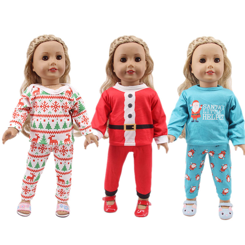 Christmas Pajamas T-Shirt + Pants&Dress For 18 Inch American&43 Cm Born Baby Generation Christmas Birthday Girl's Gifts