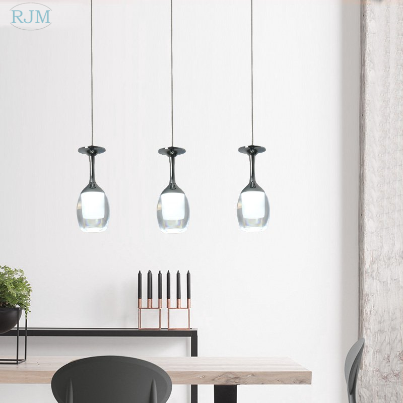 Modern Crystal Pendant Lights Goblet Glass Hanglamp Kitchen LED Light Fixture Christmas Decorations For Home Dining Room Lights
