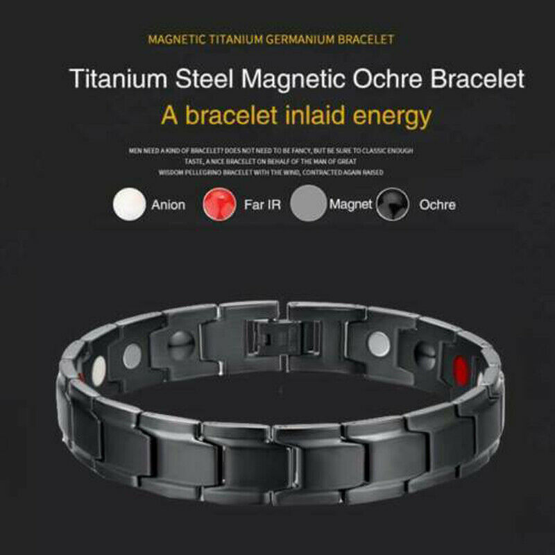 Therapeutic Energy Healing Bracelet Titanium Steel Magnetic Therapy Bangle Bracelets HSJ88