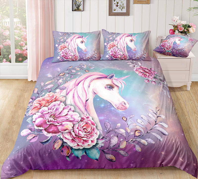 3D Animal Printing Bedding Sets Purple Dreamy Girl Unicorn And Flowers Printing Home Textile For Girls 2/3 Pcs