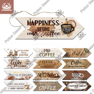 Putuo Decor Coffee Wooden Arrow Sign Wood Wall Plaque Gift Idea Wood Arrow Panel for Cafe Wall Decoration Irregular Hanging Sign