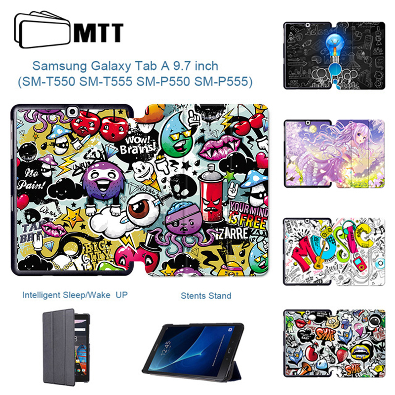 MTT Tablet Case For Samsung Galaxy Tab A 9.7 inch SM T550 SM T555 SM P550 SM P555 Graffiti PU Leather Flip Smart Cover funda|Tablets & e-Books Case| |  - title=