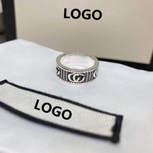 Ag925 sterling silver mężczyzn i kobiet pierścienie, wysokiej klasy para podwójne G pierścienie, europejski i amerykański retro styl, prezenty świąteczne