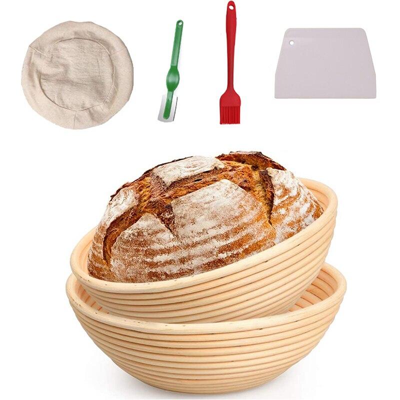 5pcs Set Round Rattan Wicker Dough Fermentation Sourdough Banneton Bread Basket Baking Tool Natural Rattan Bread Proofing Basket