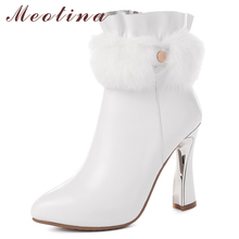 цены Meotina Winter Ankle Boots Women Natural Genuine Leather Strange Style High Heel Short Boots Fur Zipper Shoes Lady Autumn 34-39